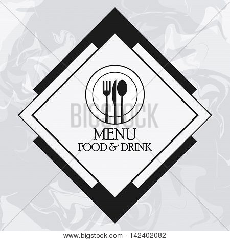cutlery plate catering service menu food icon. Silhouette illustration. Grunge background