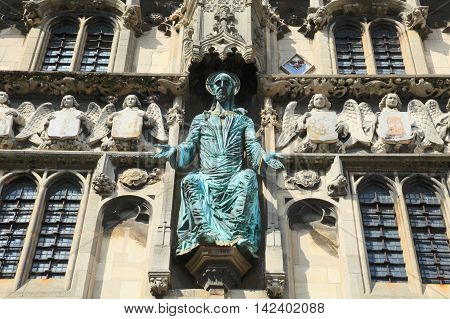 architectural details of Canterbury Cathedral, landmark in Kent, England