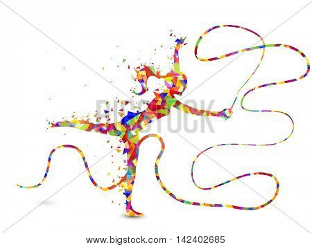 Creative abstract illustration of a girl doing Rhythmic Gymnastics with Ribbon on white background for Sports concept.