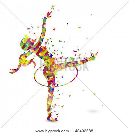 Creative abstract illustration of a girl doing Rhythmic Gymnastics with Hoop on white background for Sports concept.