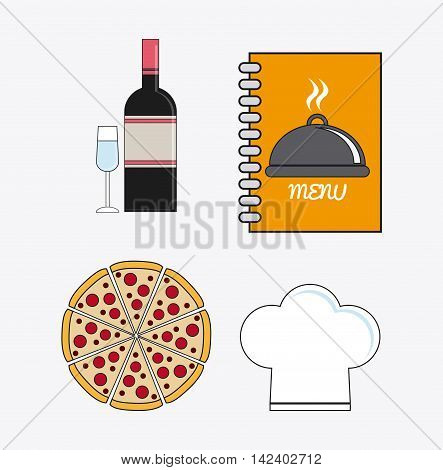 wine bottle cup pizza chefs hat book catering service menu food icon