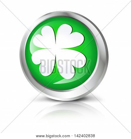 Glossy icon or button with four leaf clover symbol. 3D illustration