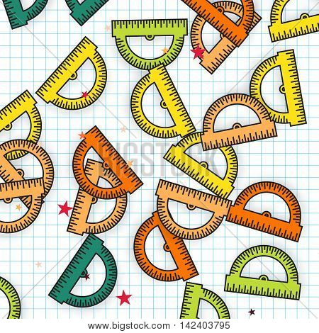 Colorful Protractor Ruler background. Back to school symbol. Office Supply Objects. Vector illustration.