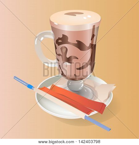 mokachino cup on saucer with sugar vector illustration