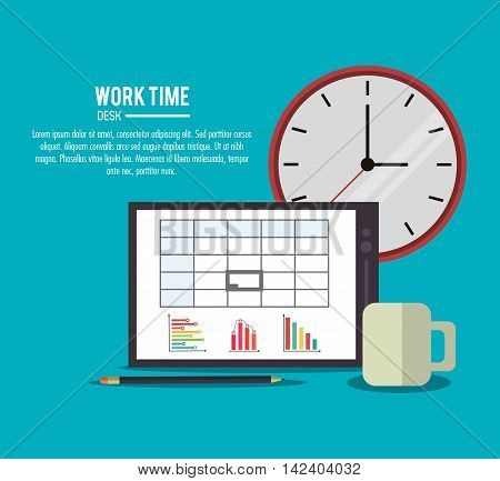 tablet clock mug pencil infographic document office work time supply icon. Colorfull and flat illustration, vector
