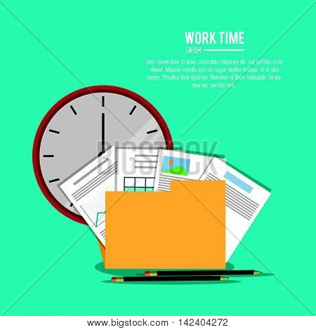 file folder infographic document pencil clock office work time supply icon. Colorfull and flat illustration, vector