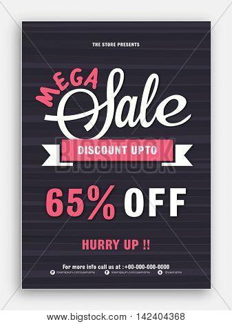 Mega Sale Flyer, Sale Banner, Sale Poster, Sale Pamphlet, Discount Upto 65% Off, Vector Illustration.