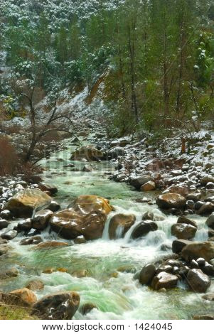 Merced River Waterfall In Winter