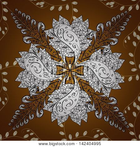 seamless pattern on brown background with golden floral golden elements. Vector illustration.