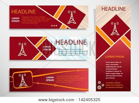 Transmitter Icon On Vector Website Headers, Business Success Concept