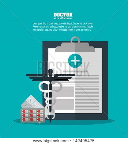 medical history caduceus medicine medical health care icon. Colorfull and flat illustration
