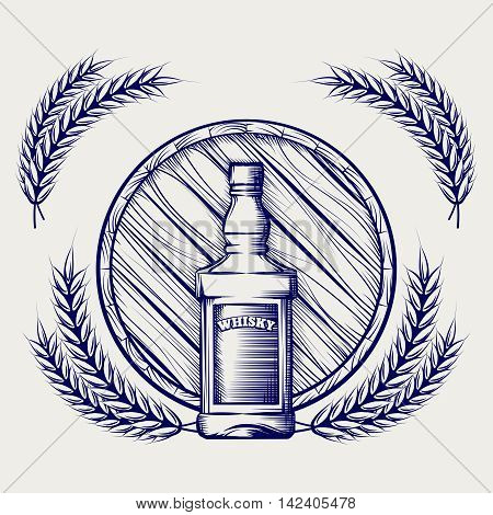 Hand drawn sketch of whisky bottle barrel and wheat ball pen logo vector