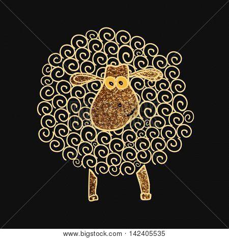 Illustration of a golden sparkling Sheep with Spirals for Muslim Community, Festival of Sacrifice, Eid-Al-Adha Celebration.