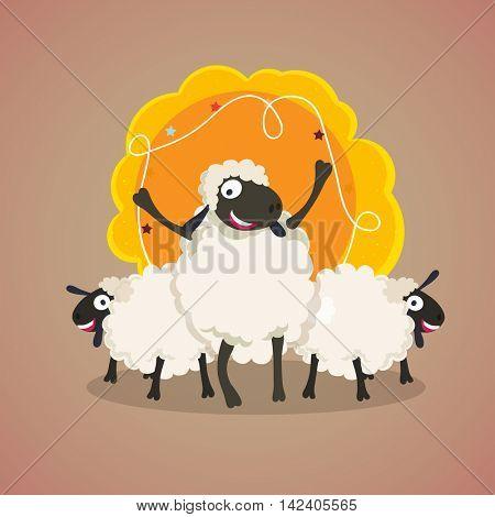 Cute Sheeps with blank frame for Muslim Community, Festival of Sacrifice, Eid-Al-Adha Celebration.