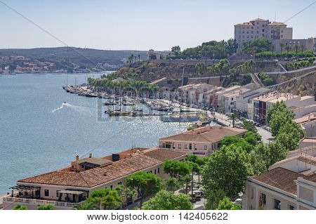 Mahon/Spain. 21st June 2012. The port area of the Menorcan capital of Mahon a warm summer's day.