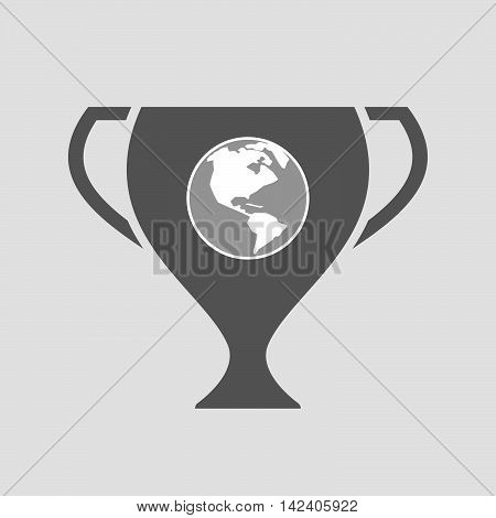 Isolated Award Cup Icon With An America Region World Globe
