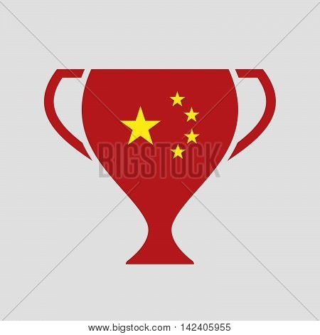Isolated Award Cup Icon With  The Five Stars China Flag Symbol