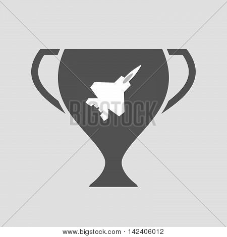 Isolated Award Cup Icon With A Combat Plane