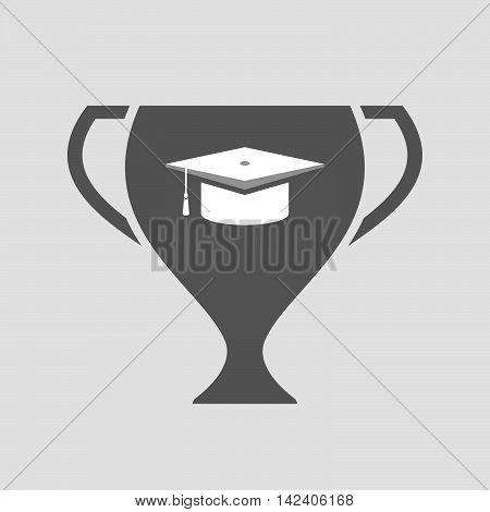 Isolated Award Cup Icon With A Graduation Cap