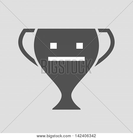 Isolated Award Cup Icon With A Emotionless Text Face