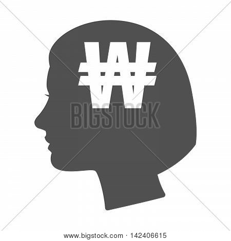 Isolated Female Head Silhouette Icon With A Won Currency Sign