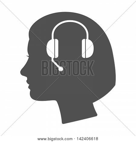 Isolated Female Head Silhouette Icon With  A Hands Free Phone Device