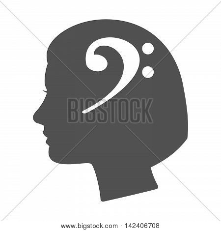 Isolated Female Head Silhouette Icon With An F Clef