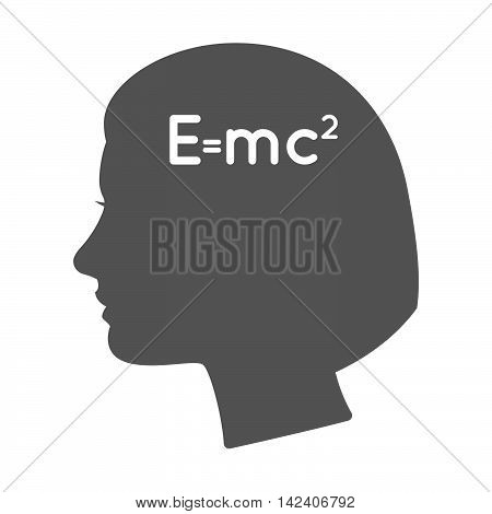 Isolated Female Head Silhouette Icon With The Theory Of Relativity Formula
