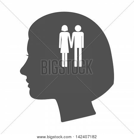 Isolated Female Head Silhouette Icon With A Heterosexual Couple Pictogram