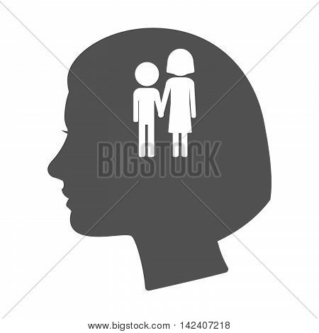 Isolated Female Head Silhouette Icon With A Childhood Pictogram