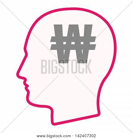 Isolated Male Head Silhouette Icon With A Won Currency Sign
