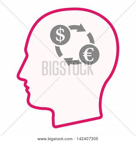 Isolated Male Head Silhouette Icon With A Dollar Euro Exchange Sign