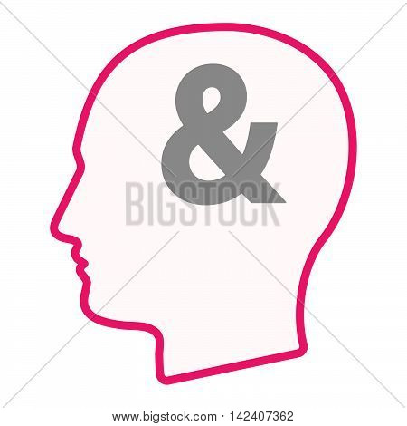 Isolated Male Head Silhouette Icon With An Ampersand