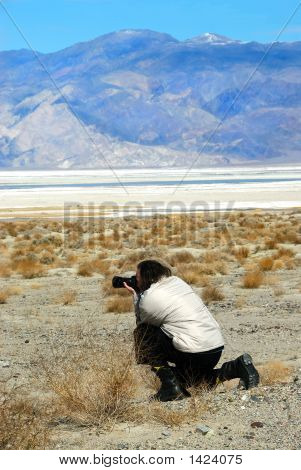 Photographer Shooting The Salt Pan At Death Valley