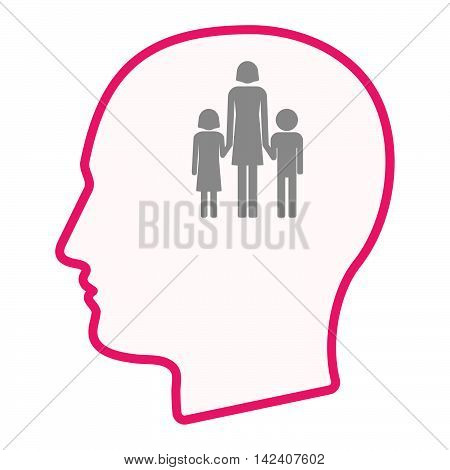 Isolated Male Head Silhouette Icon With A Female Single Parent Family Pictogram