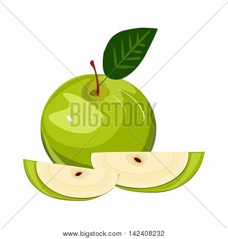 Ripe green apple with leaf and slice vector. Set of green apple fruits with cut and green leaves. Vector sweet nature green apple fruit fresh juicy organic food. Green apple with leaf and slice.