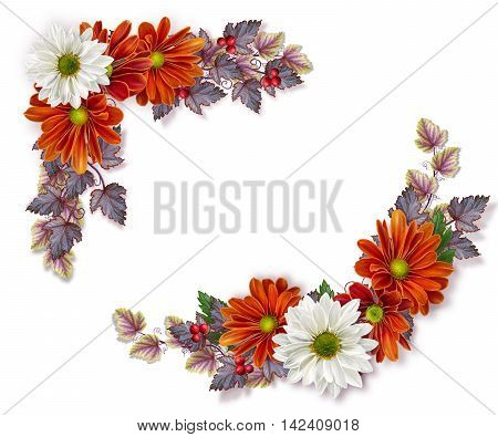 Corner floral composition. Autumn Bouquet. Orange and white chrysanthemums yellow leaves and bright berries.