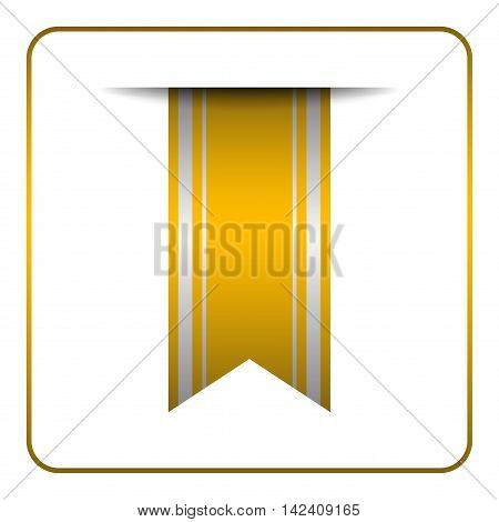 Yellow bookmark banner. Vertical book mark isolated on white background. Color tag label. Flag symbol sign. Design element blank. Empty sticker sale. Template icon decoration. Vector illustration.