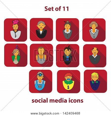 Set of 10 social media icons of different areas of life of mankind