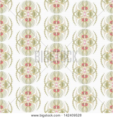 Seamless pattern art deco graphic ornament. Floral stylish monochrome modern background repeating texture with stylized waves