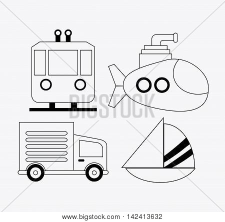 Truck trolley submarine sailboat sailboat icon. Isolated black and white , vector
