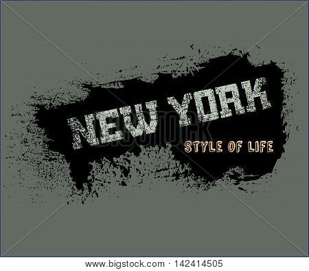T shirt typography graphics New York. Athletic style NYC. Fashion american stylish print for sports wear. Grunge emblem. Template for apparel card poster. Symbol of big city. Vector illustration