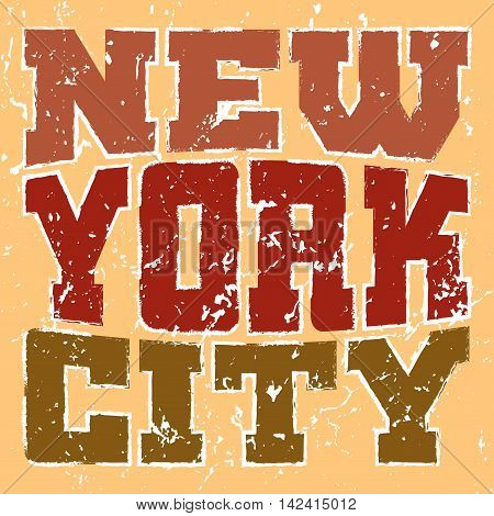 T shirt typography graphics New York. Athletic style NYC. Fashion american stylish print for sports wear. Color on white emblem. Template for apparel card poster. Symbol big city Vector illustration