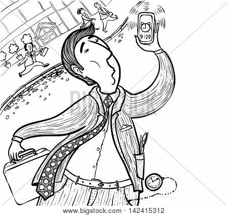 Doodle businessman late for deadline hand-drawing vector illustration