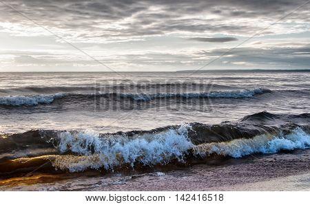 Big waves on the lake - windy weather