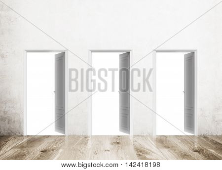 Three doors. All open in concrete wall with wood floor. Concept of decisions and alternative ways to success. Mock up. 3d rendering