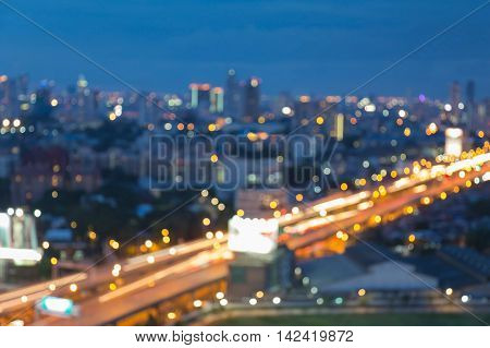 Blurred lights city and highway abstract background