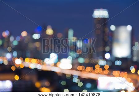 Blurred lights big city night view, abstract background