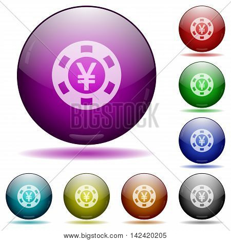 Set of color Yen casino chip glass sphere buttons with shadows.