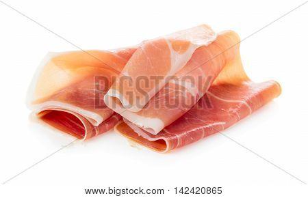Sliced of jamon isolated on white background